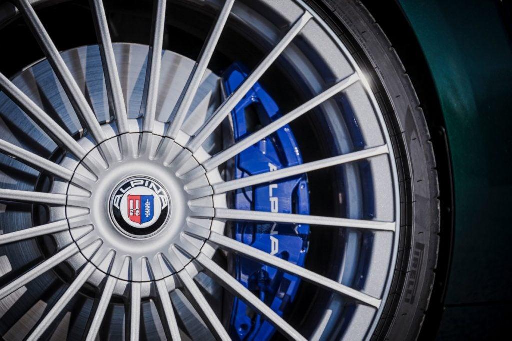 2022 BMW Alpina B8 Gran Coupe brakes up close.