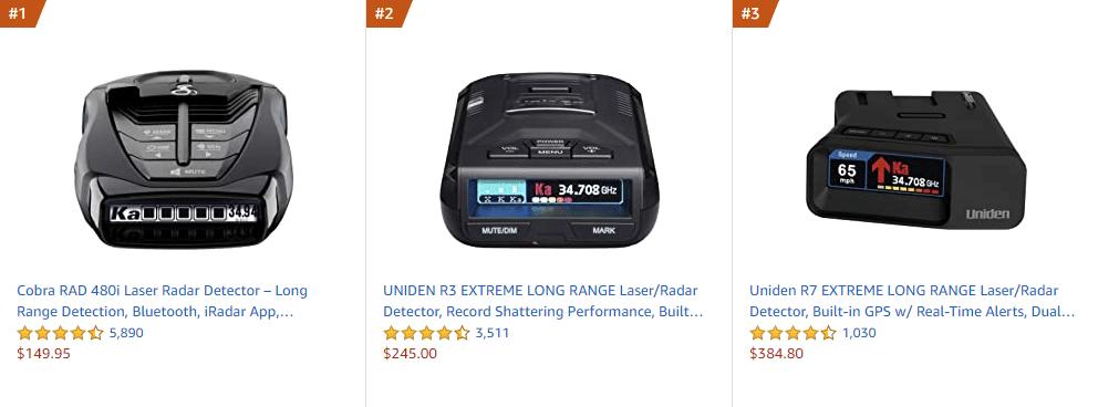 Best selling radar detectors on Amazon