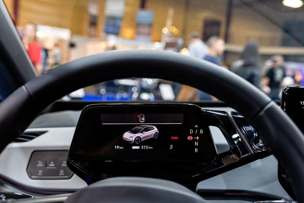 Digital odometer in an electric vehicle.