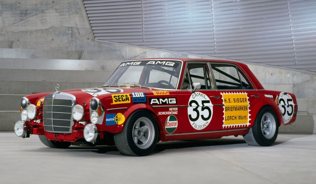"""The famous """"Red Pig"""" racing car, a Mercedes-Benz 300 SEL 6.3, helped secure AMG's reputation in Motorsport."""