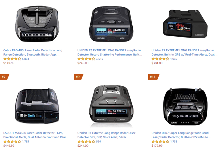 best selling radar detectors amazon