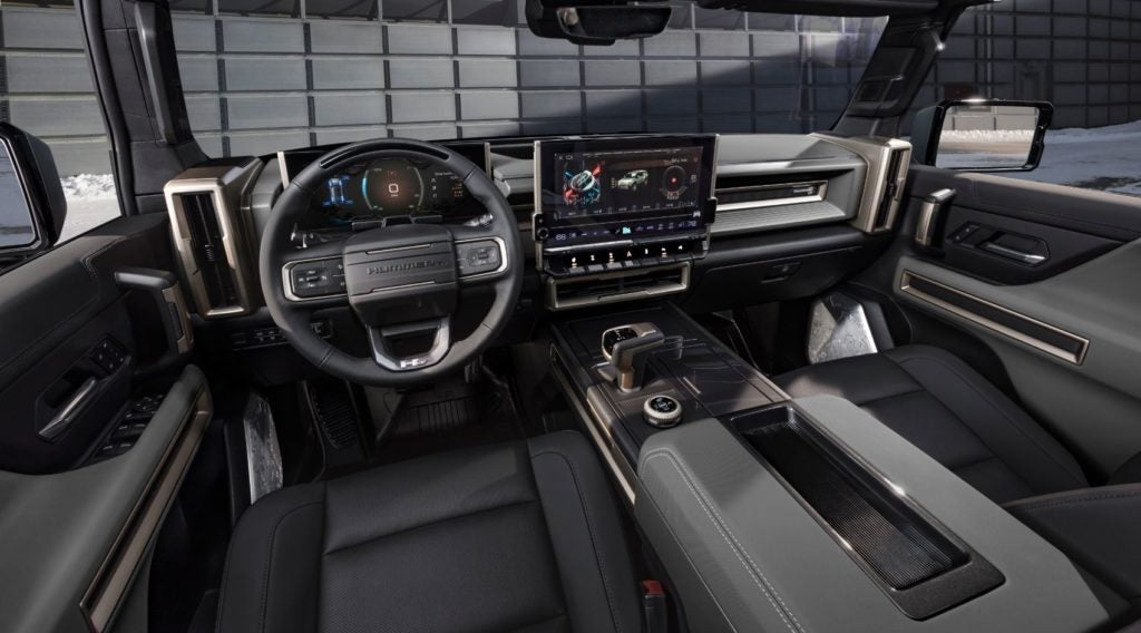 2024 GMC Hummer EV SUV interior layout.