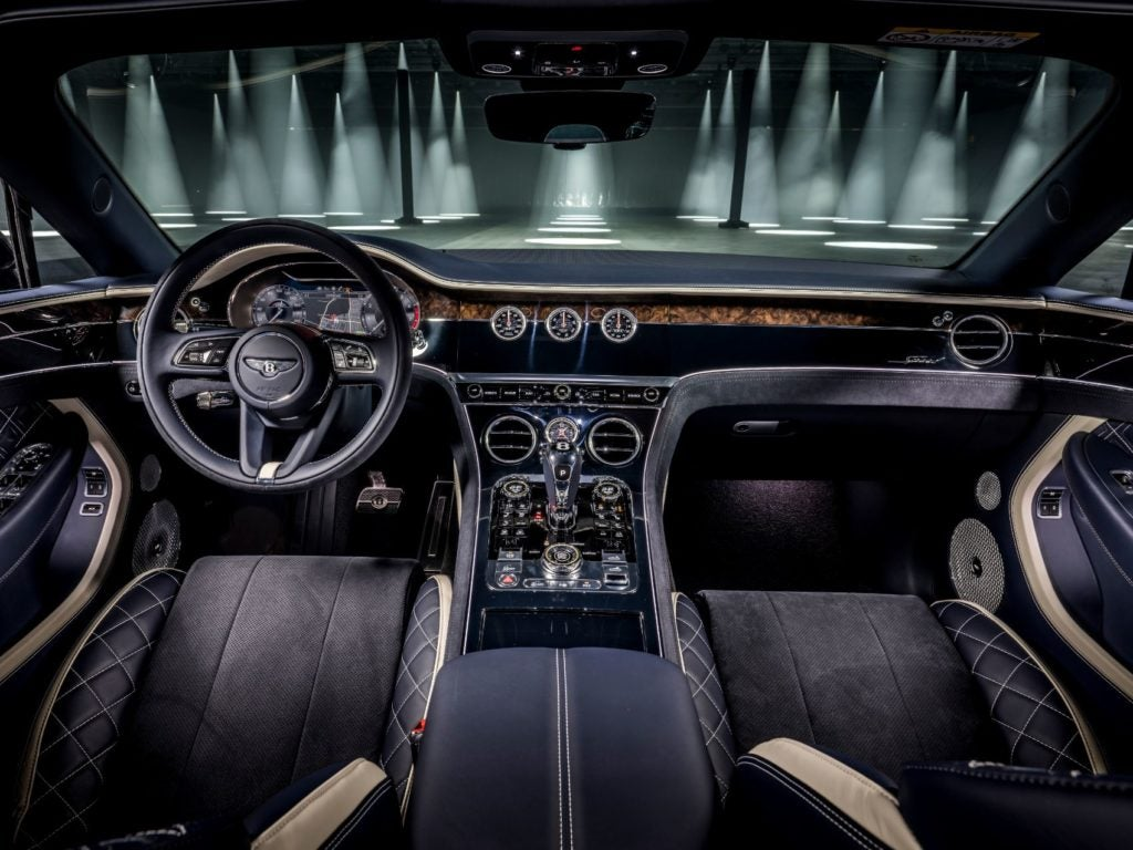 Bentley Continental GT Speed Convertible interior layout.