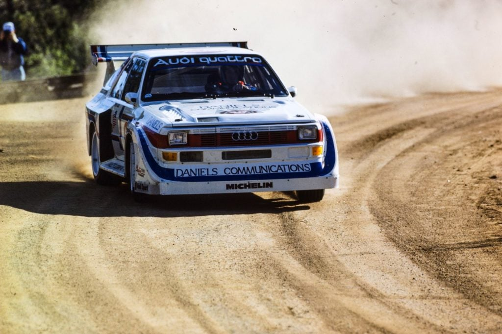 Three stunning Pike's Peak wins were achieved in America in successive years for Michele Mouton (1985), Bobby Unser (1986), and Walter Röhrl (1987). From quattro: The Race and Rally Story: 1980-2004 by Jeremy Walton, published by Evro Publishing Limited. Photo: Motorsport Images.