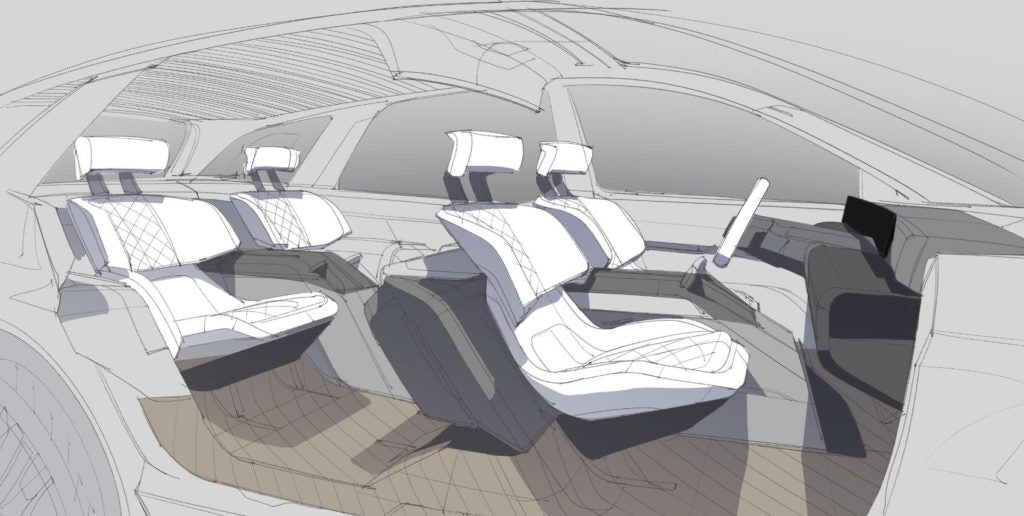 Future Lincoln vehicle interior rendering.