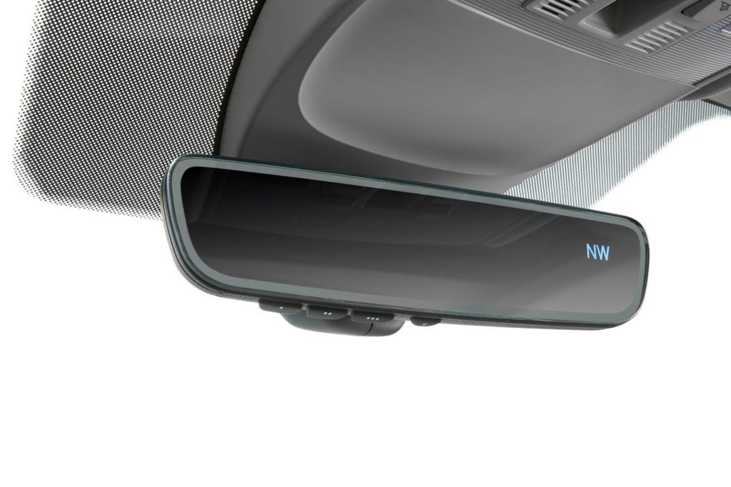 Frameless auto-dimming rearview mirror with VW's HomeLink Connect (2022 VW Taos).