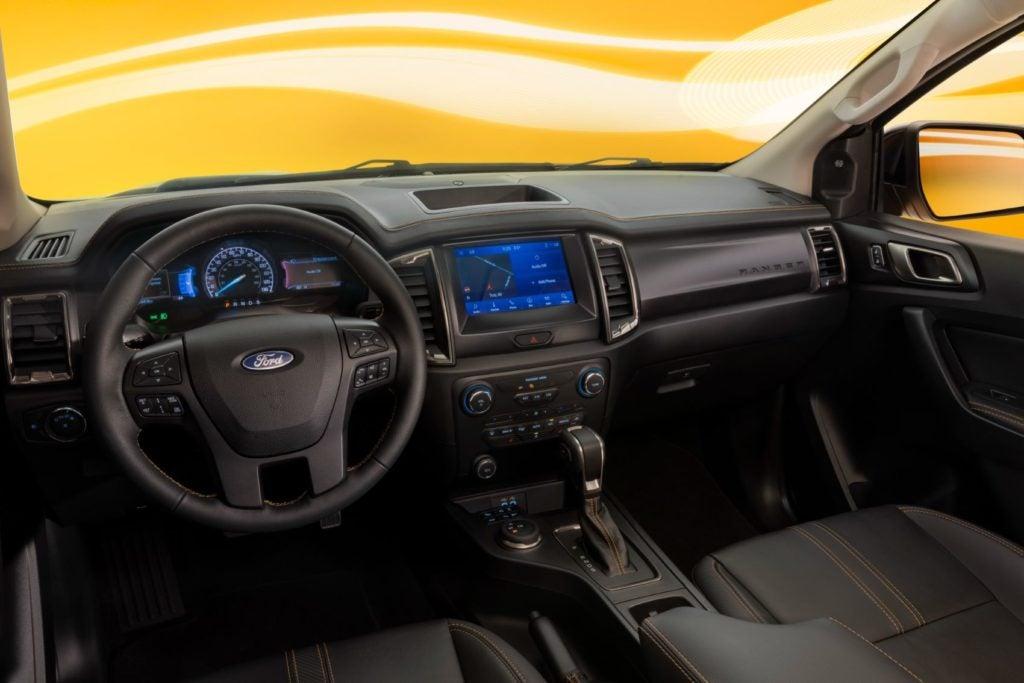 2022 Ford Ranger Splash interior layout.