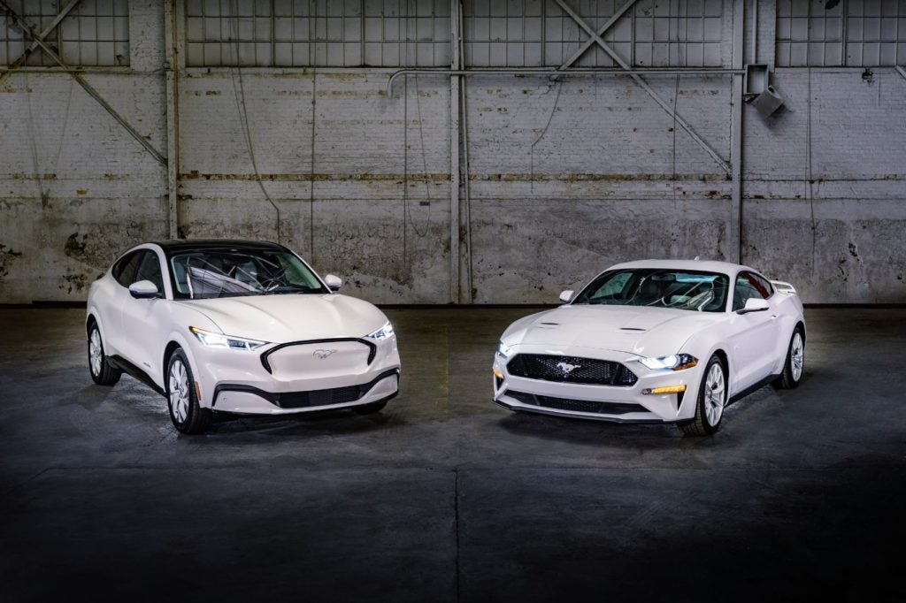 Ford is introducing the Mustang Ice White Edition Appearance Package for both the Mustang coupe and Mustang Mach-E.